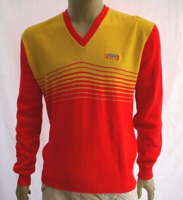 RARE 70's VINTAGE FORMULA SHELL LONG SLEEVE STAFF JUMPER SWEATER PULLOVER XL NEW
