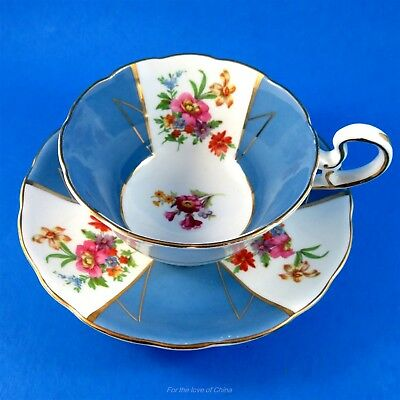 Bright Blue Panels with Floral Bouquets Radfords Tea Cup and Saucer Set