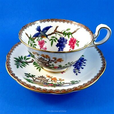 Exotic Birds on Wisteria Branch with Japanese Pagoda Aynsley Tea Cup and Saucer
