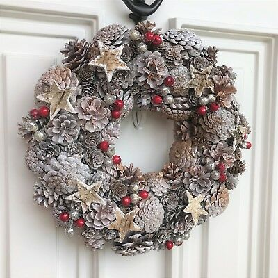 Christmas White & Silver Pine Cone Wreath Stars Red Berry Door Decoration 33cm