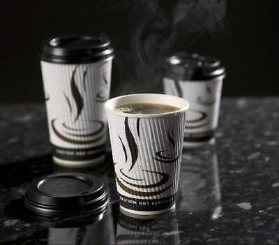 * 100 x 12oz Weave white print Ripple Hot Cups Coffee Tea Cup Takeaway 3 ply