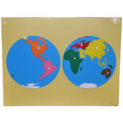 MONTESSORI WOODEN Puzzle MAP of WORLD PARTS Knobs Learn GEOGRAPHY Homeschool