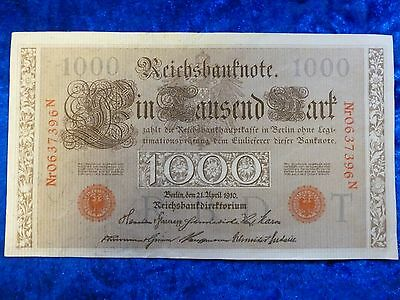 Germany 1000 Mark Banknote 1910 lightly used