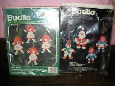 2 Bucilla Christmas ornament kits jeweled puppets & Holly Dolls 2583 82174 NEW