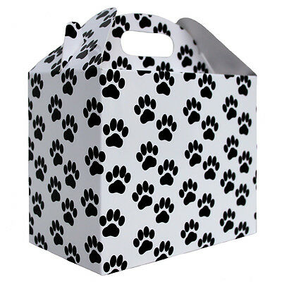 10 x DOG CAT PAW PRINT GABLE BOX - White & Black Gift Box, Gift Bag, Pet Hamper