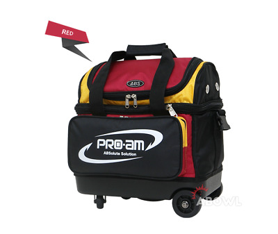 ABS Premium Silent Roller Bowling Bag 1 Ball Pocket Red Yellow Color Authentic