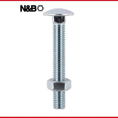6.0 x 100 Carriage Bolt & Hex Nut - BZP - 06100CB