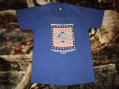 Vintage 80s SMITHSONIAN INSTITUTION T Shirt Blue 14-16 Kids Large 50/50 1981 Tee
