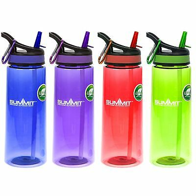 Colourful Large Quality 700ml BPA Free Water Bottle with Straw & Free Carabiner