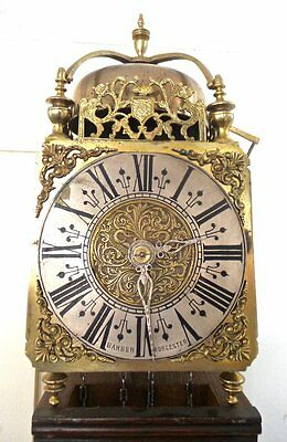 Antique 1801 English brass lantern wall clock & oak bracket-Barber of Worcester