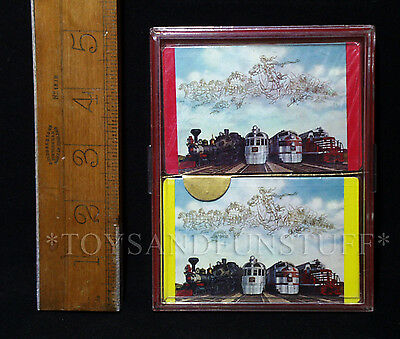2 New Decks - BURLINGTON ROUTE Railroad Playing Cards 5 ENGINES - SEALED IN BOX
