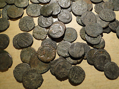 10 Assorted Clean but Unresearched Roman Bronze Coins.