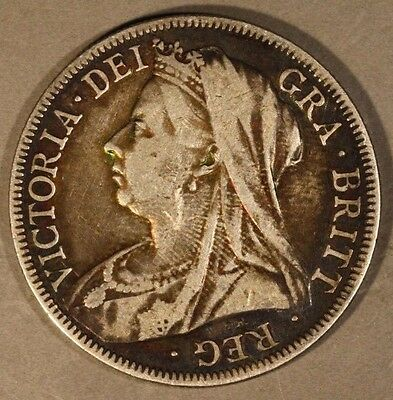 1894 Great Britain Florin Silver Key Date Circulated    ** FREE U.S. SHIPPING **