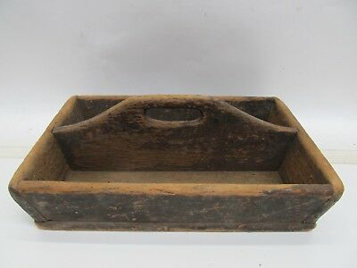 Antique Primitive Wood Silverware Utensil Tool Caddy - Handle Tote