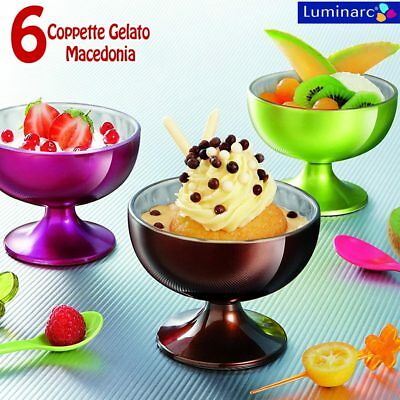 6X COPPETTE GELATO SORBETTO MACEDONIA DESSERT LUMINARC FLASHY COLOR 21CL Promo