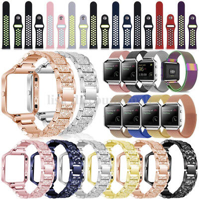 Silicone/Stainless Steel/Milanese Magnetic Strap +Frame Band For Fitbit Blaze