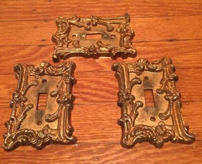 Vintage Edmar 40 Brass Light Single Switch Plate Covers Ornate Lot of 3 Edmar 40