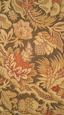 Antique French 1870-80 Fabric Engraved? Indienne Olive Green Brown Red