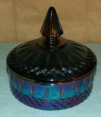 "Vintage Blue Carnival Glass Princess Candy Dish; Indiana Glass; 5 3/4"" X 6"""