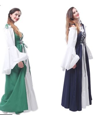 Renaissance Victorian Medieval Gothic Halloween Cosplay Long Dress ball gown