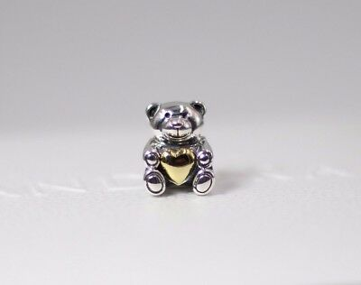 Pandora S925 Ale Teddy Bear My Heart Charm 791166 With Tissue And Pop-up Box