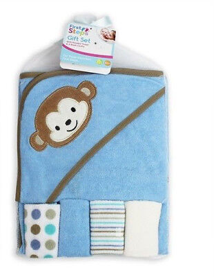 Blue Monkey Baby Soft Hooded Towel & Wash Cloths Bath Set Babys Toddler