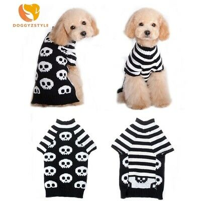 DOG JUMPER HOODY CHIHUAHUA YORKIE PUPPY TOY 23CM TEACUP BLACK sculls small
