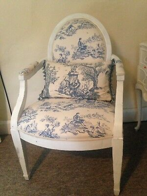 French louis toile du jouy chair in blue and white exc cond collect Abergavenny