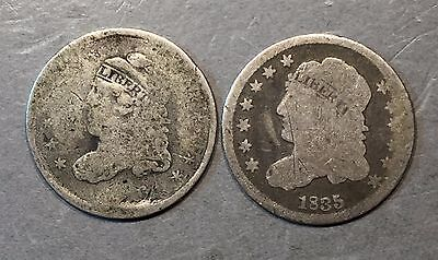 Lot of (2) Capped Bust Half Dimes     ** FREE U.S SHIPPING **  A403
