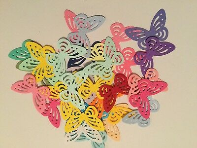 25 Mixed Colours Die Cut Punched Butterflies Wedding Craft Card Making Children