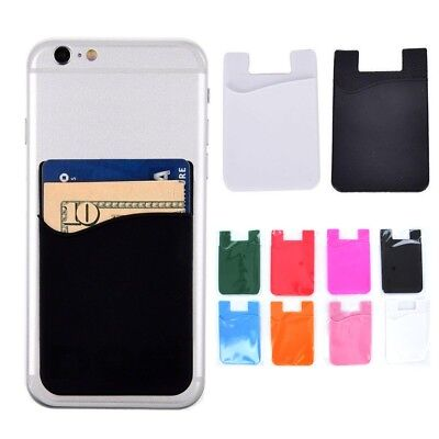 Universal Adhesive Sleeve Rubber Wallet Credit Card ID Holder for Cell Phones