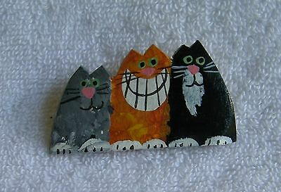 Artisan Hand Painted Signed Wooden Three Cat Pin
