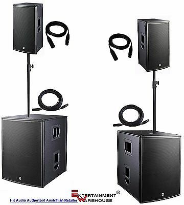 HK Audio System - Pair PL118SUBA + 2 x PL112A + Pole Stands with bag + Cables