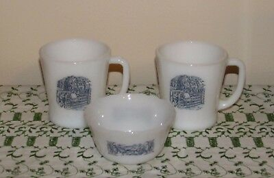 Currier & Ives Milk Glass Mugs -2 Custard Cup-1 Excellent!