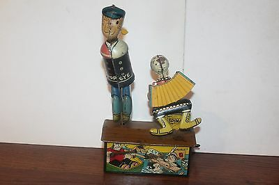 NICE VINTAGE 1930's  MARX TIN WIND-UP POPEYE DANCER with OLIVE OYL  works!