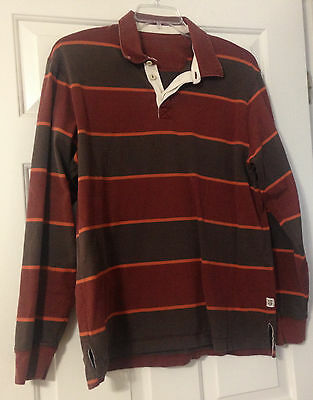 Vintage Heavy Duty Eddie Bauer Rugby Shirt Burgandy Red, Brown, Orange Large L