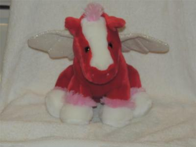 Plush Valentine Pegasus Horse Angel Silver Wings Stuffed Pony Red Pink White