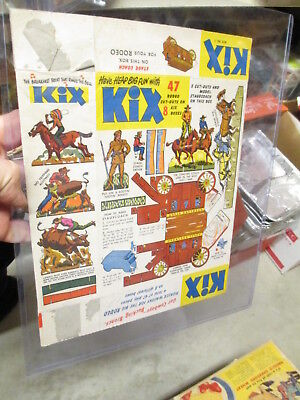cereal box KIX 1940s cut out paper doll cowboy Indian western stagecoach rodeo
