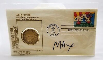 Peter Max Expo 1974 special stamp and coin
