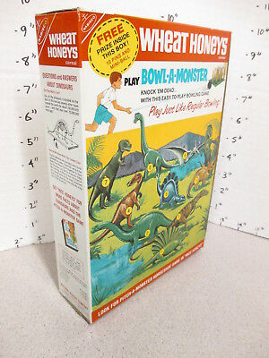 cereal box WHEAT HONEYS 1966 dinosaur premium bowling game T Rex Stegosaurus