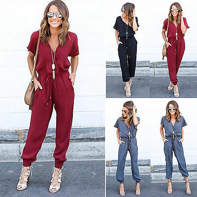 Women's Short Sleeve Jumpsuit Romper Casual Long Trousers Pants V Neck Playsuit