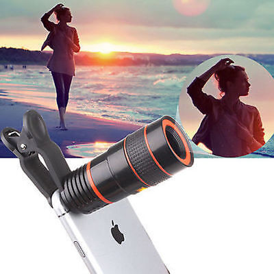 Universal 8X Zoom Camera Telephoto Telescope Lens Phone Clip For iPhone Huawei