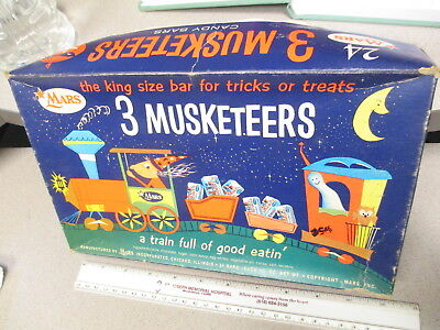 3 Musketeers 1950s WITCH train candy box Indian racist halloween mask display