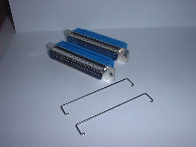 IDC Dee 37 Way Plug Male D Ribbon Cable Tin & Dimple + Strain Relief x 2 pcs