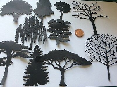 Selection of 20 beautiful TREES die Cuts in BLACK,GREEN,WHITE,KRAFT or BROWN