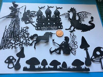 12 FAIRY TALE princess castles, unicorn,fairies,dragon,toadstool die cuts.