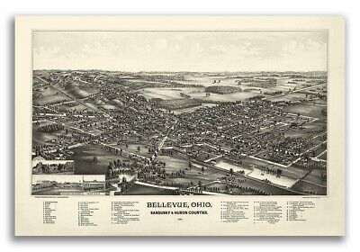 1888 Bellevue Ohio Vintage Old Panoramic City Map - 24x36