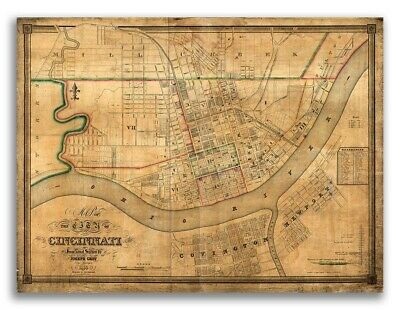 1838 Cincinnati Ohio Vintage Old Panoramic City Map - 18x24