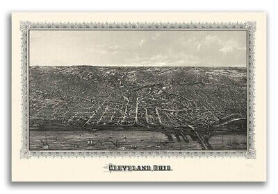 1887 Cleveland Ohio Vintage Old Panoramic City Map - 24x36