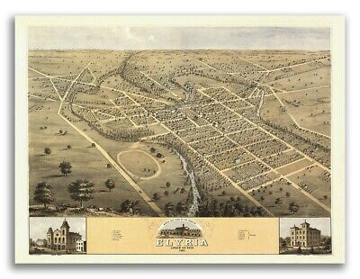 1868 Elyria Ohio Vintage Old Panoramic City Map - 24x32